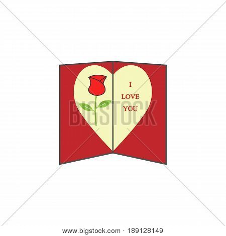 Love card with rose solid icon, Valentine's day, love concept, vector graphics, a colorful linear pattern on a white background, eps 10.