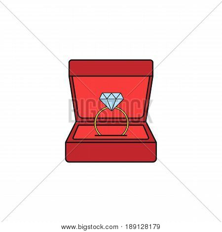 Wedding diamond ring in gift box solid icon, engagement in Valentine's day, love concept, vector graphics, a colorful linear pattern on a white background, eps 10.