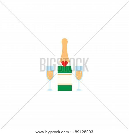 Champagne bottle with wine glasses solid icon, Valentine's day and 8 march, love concept, vector graphics, a colorful linear pattern on a white background, eps 10.
