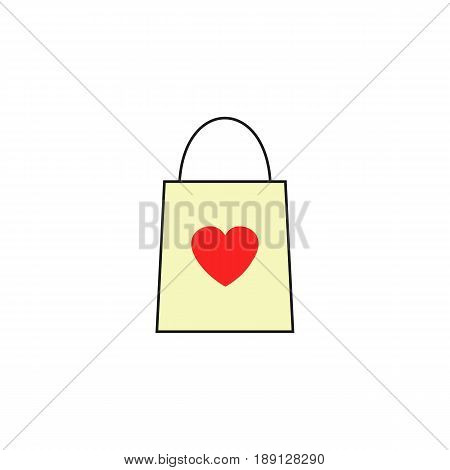 Shopping bag with heart solid icon, Valentine's day, love concept, vector graphics, a colorful linear pattern on a white background, eps 10.