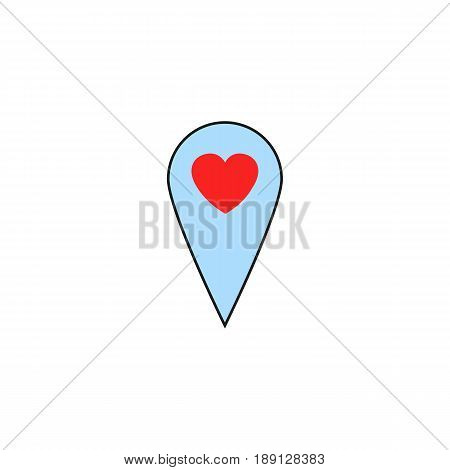 Map pointer with heart solid icon, Valentine's day location and love pin, love concept, vector graphics, a colorful linear pattern on a white background, eps 10.