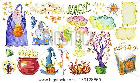 Watercolor artistic collection of magic hand drawn elements design isolated on white background. Two wizards lettering smoke fire magic wand crystal powder set. Fairy tale children illustration.