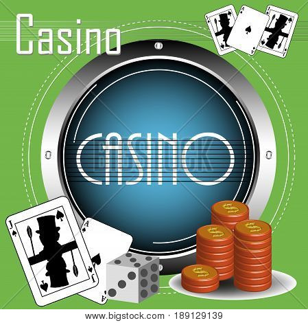 Abstract colorful illustration with blue metallic circle, stack of coins, dices and poker cards. Casino theme