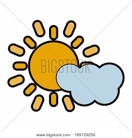 cloud partially covering sun icon image vector illustration design