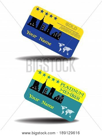 Two isolated cards with the text golden member and platinum member. Premium membership card concepts