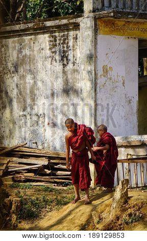 Young Monks At The Old Buddhist Temple