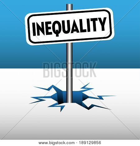 Abstract colorful background with a plate with the word inequality coming out from an ice crack