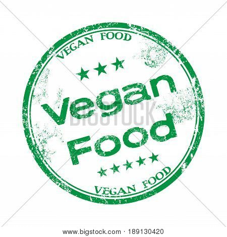 Green grunge rubber stamp with the text vegan food written inside the stamp