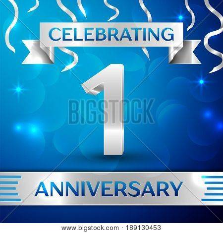 One Years Anniversary Celebration Design. Confetti and silver ribbon on blue background. Colorful Vector template elements for your birthday party. Anniversary ribbon