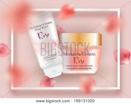 Realistic cosmetic tubes set, face and hand cream Rose, flying petals, frame. Advertisement beauty skincare design package, flyer, poster. Face, hand spa treatment.
