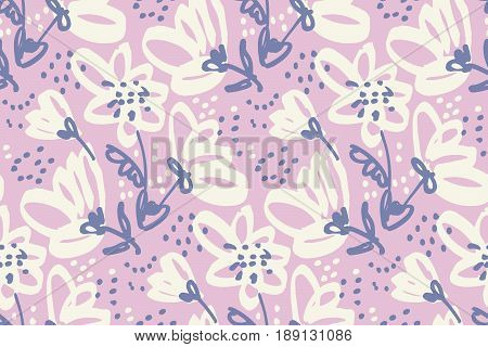 Hand drawn shabby floral seamless pattern for surface design, wrapping paper, fabric, background. Sketch style pale color flowers repeatable motif.