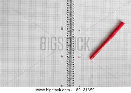 An Open Notebook In A Cage With A Red Felt-tip Pen
