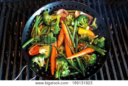 Mixture of vegetables roasted on the BBQ