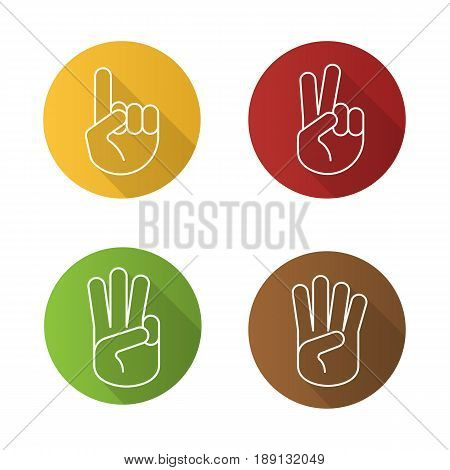 Hand gestures flat linear long shadow icons set. One, two, three and four fingers up. Vector line illustration