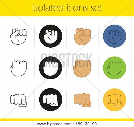 Punch hand gestures icons set. Linear, black and color styles. Squeezed fists. Isolated vector illustrations