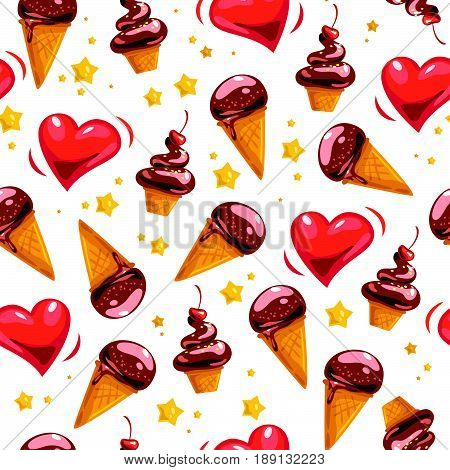 Vector flat seamless pattern with sweet ice cream cones, hearts and star shape isolated on white background. Cartoon style. Good for menu cover, packaging paper design, advertising, banner.