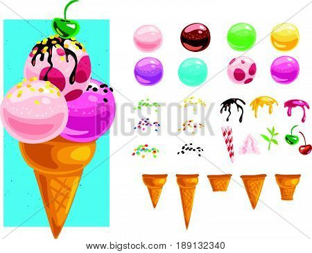 Vector flat collection of tasty sweet colorful ice cream cones elements isolated on white background. Food illustration generator creator for menu, packaging design. Cold delicious summer dessert set.