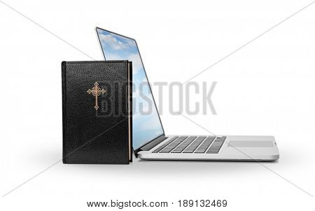 E-learning Holy Bible -Holy Bible and laptop with sky screen