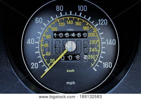 An image of a tachometer from a classic car
