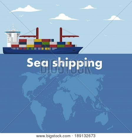 Sea shipping banner template. Maritime container transportation, commercial transportation logistics. Worldwide freight shipping business company, global delivery service vector illustration