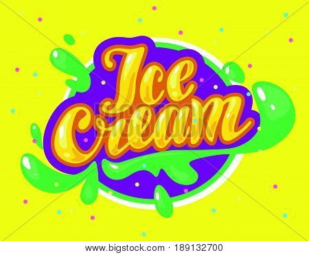 Vector flat ice cream shop, store logo isolated on yellow background. Cartoon style. Ice cream store, truck emblem with confetti, splatters. Hand written font. Badge, sticker, package design element.