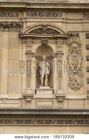 Paris, France, March 28 2017: Architectural exteriors details of the Louvre museum