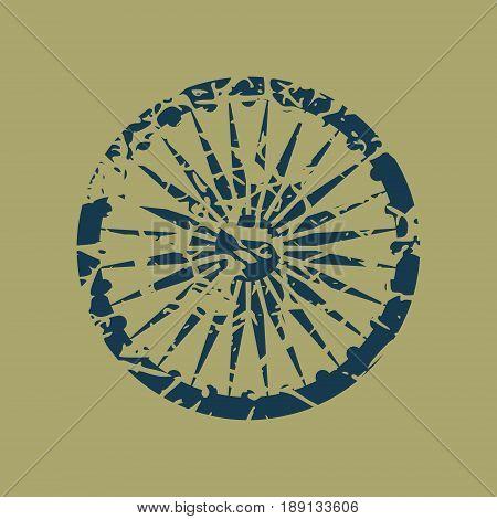 Ashoka Chakra symbol. Monochrome gamma. Grunge cracked texture