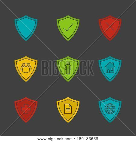 Protection shields glyph color icon set. Medical insurance, private documents, property, people, network security. Silhouette symbols on black backgrounds. Negative space. Vector illustrations