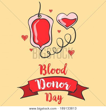Red backgroud blood donor day style vector art