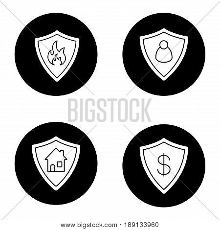 Protection shields icons set. Bank account, real estate, personal security. Flammable sign. Vector white silhouettes illustrations in black circles