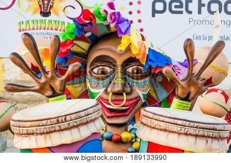 Barranquilla , Colombia  - February 25, 2017 : parade of the carnival festival of  Barranquilla Atlantico Colombia