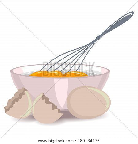 Vector Illustration of Whisking the Egg Yolk in the Bowl