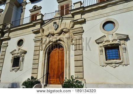 ROME, ITALY - APRIL 15: Zuccari Palace famous grotesque entrance built between the 16th and 17th century in Mannerism style APRIL 15, 2017 in Rome, Italy