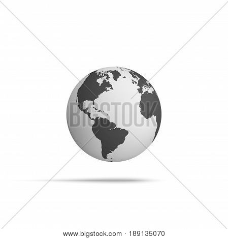 Realistic Earth Globe hover in the Air. Vector Illustration