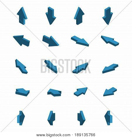 Set of isometric arrows. Blue arrows in different directions. Vector