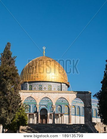 Approaching the Mosque of Omar, also known as the Dome of the Rock on the Haram es-Sharif inside Old Jerusalem.