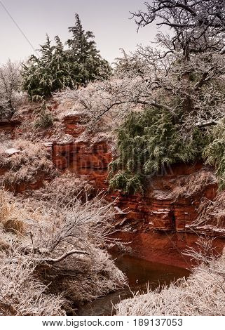 A frosty winter morning scene along the Boggy Creek in western Oklahoma