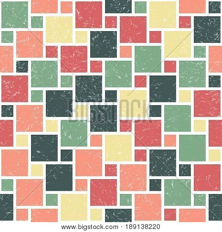 Vector Geometric Herringbone Seamless Pattern. Repeating Abstract Background with Grunge Texture. Vintage Bright Graphic Ornament with Rectangle Shapes