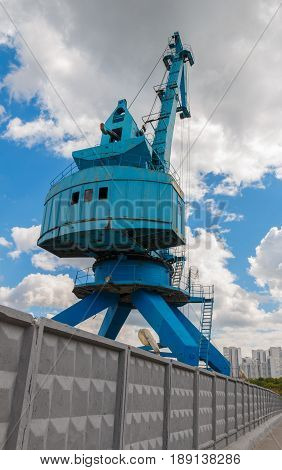 Industrial Shipyard Crane In Moscow, Russia.