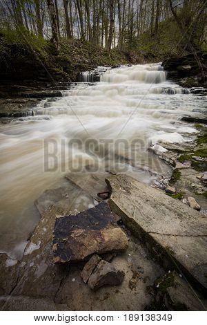 Swazye Falls in Ridgeville Ontario in spring.