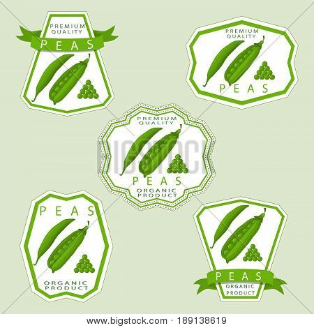 Abstract vector illustration logo for whole ripe vegetables round pea with green stem leaf cut sliced on background.Pea drawing consisting of tag label peel pip twine rope ripe food.Eat fresh peas.