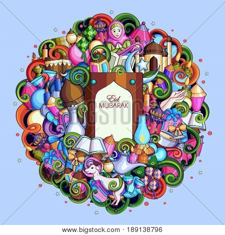 vector illustration of Eid Mubarak Blessing for Eid background with Islamic style doodle