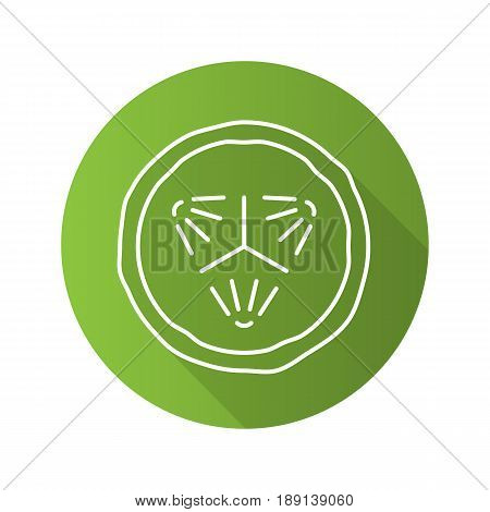 Cucumber slice flat linear long shadow icon. Spa. Cucumber facial mask. Vector line symbol