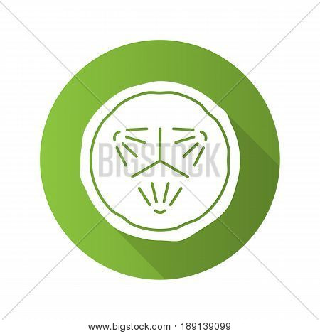 Cucumber slice flat design long shadow icon. Spa. Cucumber facial mask. Vector silhouette symbol