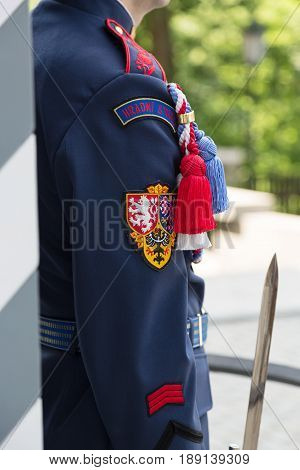 Presidential guard near sentry box in Hradcany, Prague Castle, Czech Republic.
