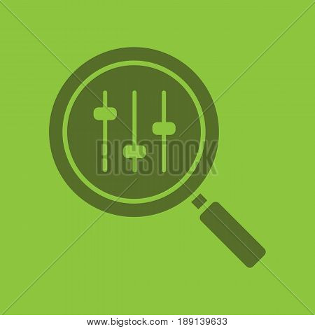 Search preferences glyph color icon. Silhouette symbol. Magnifying glass with music equalizer. Negative space. Vector isolated illustration