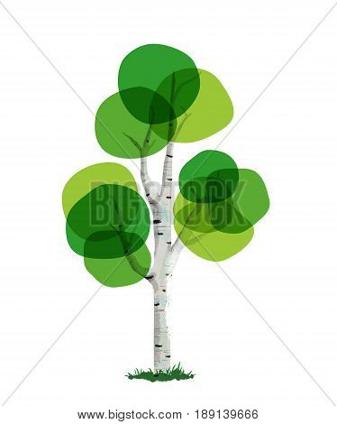 Hand drawn tree made of abstract green foliage art. Environment concept for nature care or genealogy template. EPS10 vector.