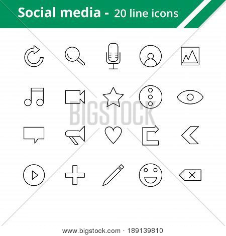 Social media line icons. Icons for mobile and web interfaces