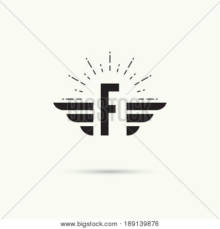 Elegant dynamic alphabet letters with wings. Monogram wing logo mockup. Creative design element. Corporate branding identity. Vector template. Letter f
