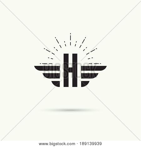 Elegant dynamic alphabet letters with wings. Monogram wing logo mockup. Creative design element. Corporate branding identity. Vector template. Letter h